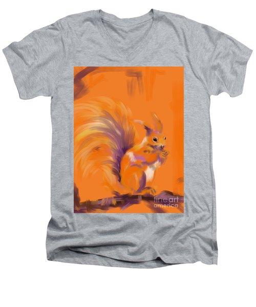 Orange Forest Squirrel Men's V-Neck T-Shirt