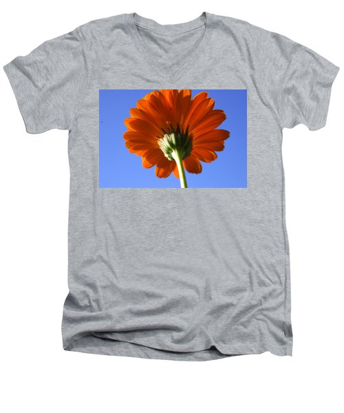 Orange Gerbera Flower Men's V-Neck T-Shirt by Ralph A  Ledergerber-Photography