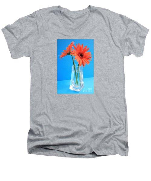 Orange Gerberas In A Vase - Aqua Background Men's V-Neck T-Shirt