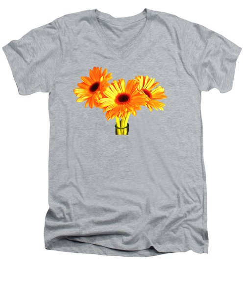 Orange Gerbera's Men's V-Neck T-Shirt by Scott Carruthers