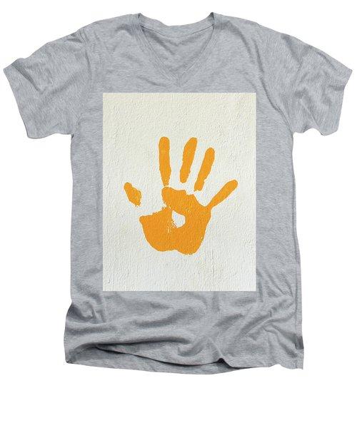 Orange Handprint On A Wall Men's V-Neck T-Shirt