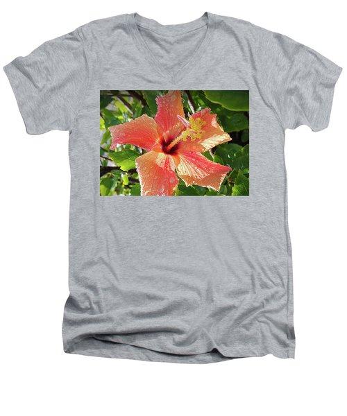 Orange Hibiscus Men's V-Neck T-Shirt