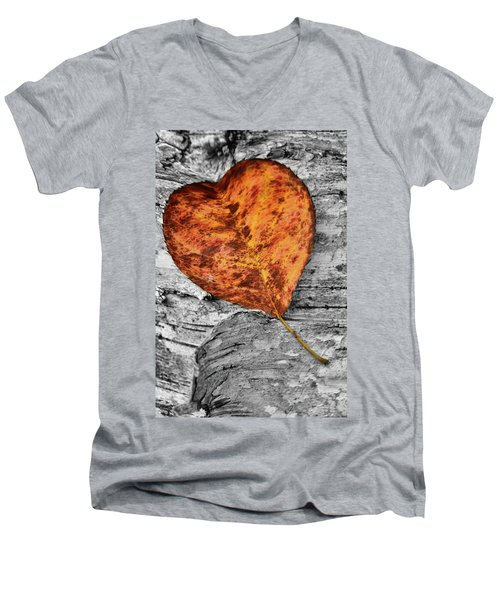 Orange Leaf Men's V-Neck T-Shirt