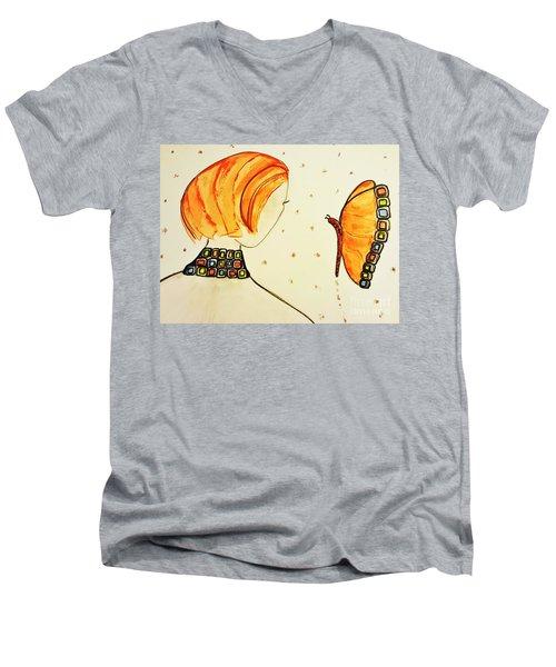 Orange Match Men's V-Neck T-Shirt