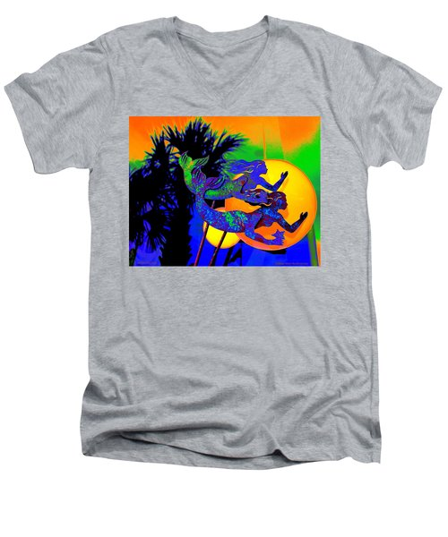 Orange Moon Synchronicity Men's V-Neck T-Shirt
