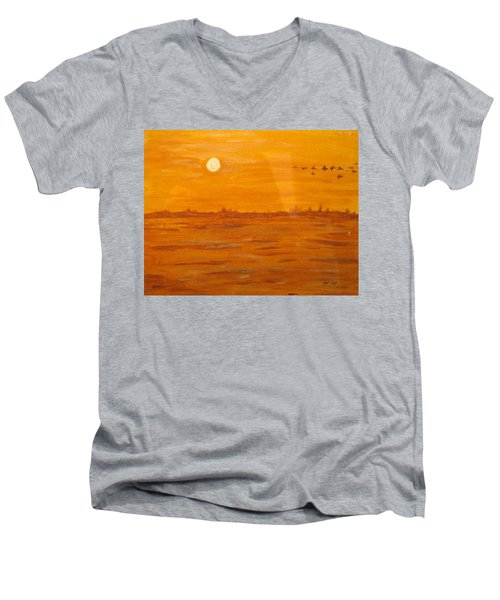 Men's V-Neck T-Shirt featuring the painting Orange Ocean by Ian  MacDonald