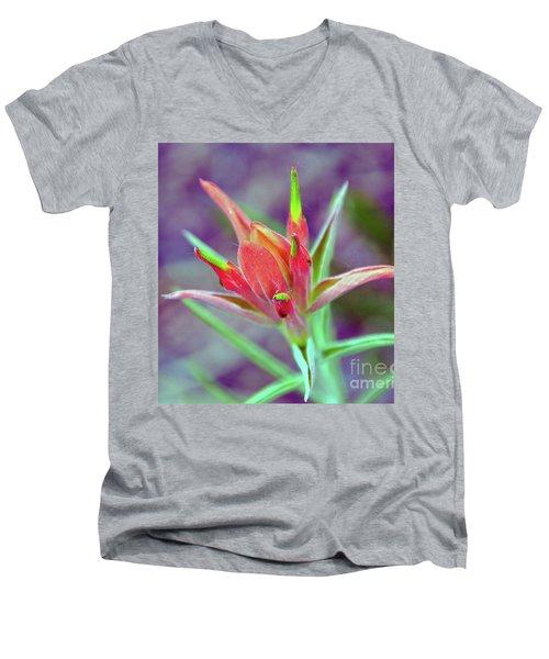 Orange Paintbrush Flower Men's V-Neck T-Shirt