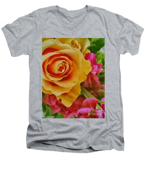 Orange Rose Men's V-Neck T-Shirt