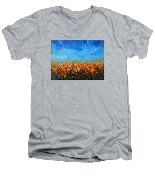 Men's V-Neck T-Shirt featuring the painting Orange Sensation by Jane See