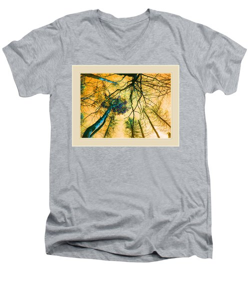 Orange Sky Tree Tops Men's V-Neck T-Shirt by Felipe Adan Lerma