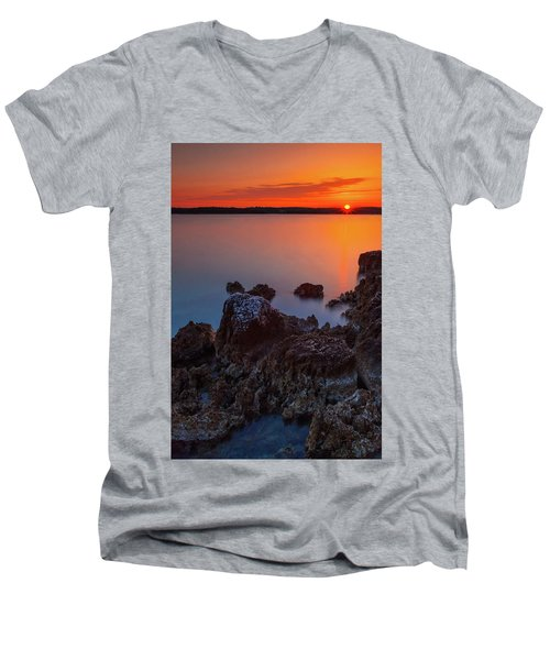 Orange Sunrise Men's V-Neck T-Shirt