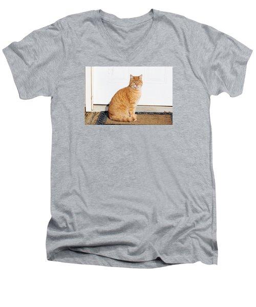 Men's V-Neck T-Shirt featuring the digital art Orange Tabby Cat by Jana Russon