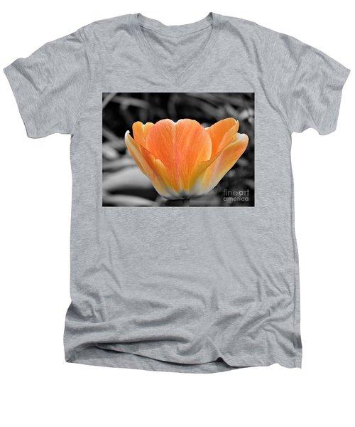 Orange Tea Cup Tulip Men's V-Neck T-Shirt