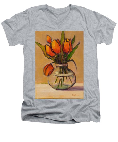 Orange Tulips Men's V-Neck T-Shirt
