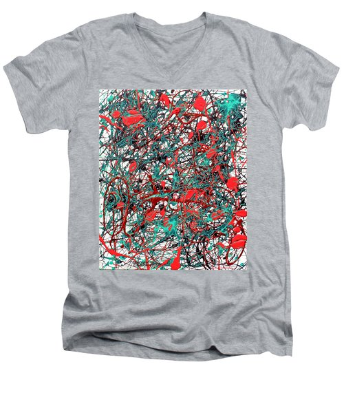 Men's V-Neck T-Shirt featuring the painting Orange Turquoise Drip Abstract by Genevieve Esson