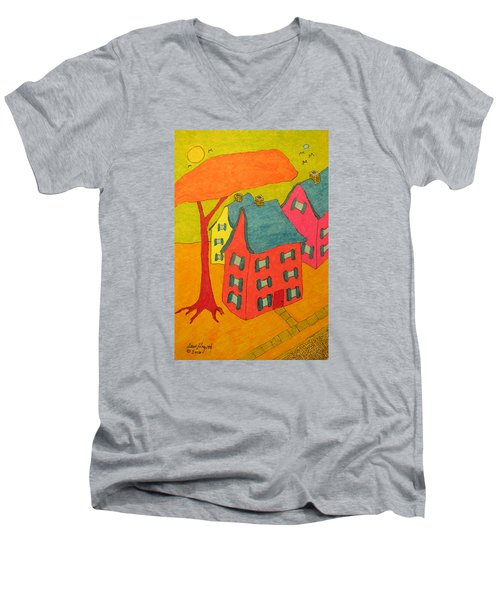 Orange Umbrella Tree And Three Homes Men's V-Neck T-Shirt