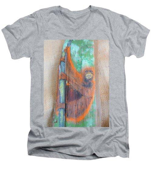 Orangutan Men's V-Neck T-Shirt by Ann Michelle Swadener