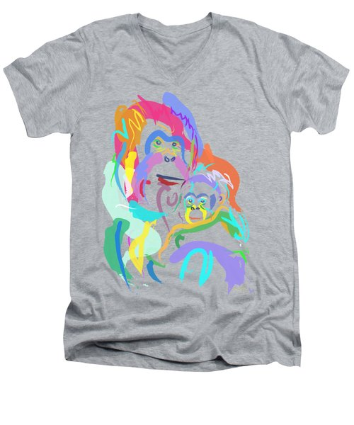 Orangutan Mom And Baby Men's V-Neck T-Shirt