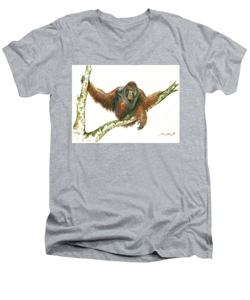 Orangutang Men's V-Neck T-Shirt by Juan Bosco