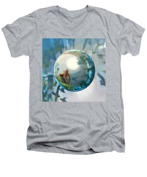 Orbital Flight Men's V-Neck T-Shirt by Robin Moline