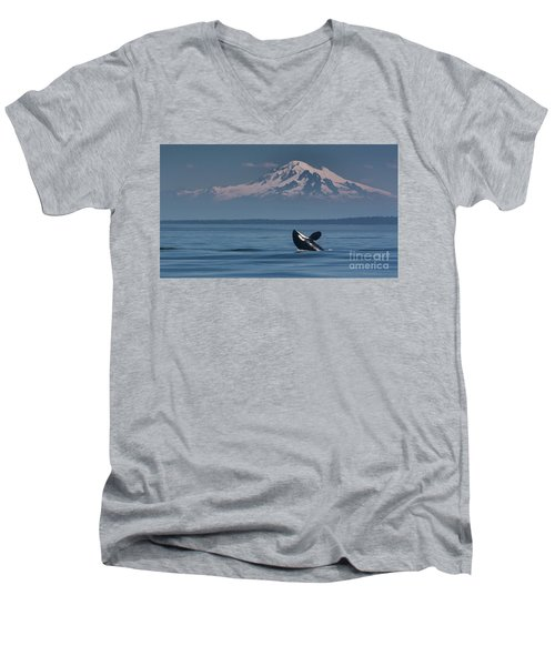 Orca - Mt. Baker Men's V-Neck T-Shirt