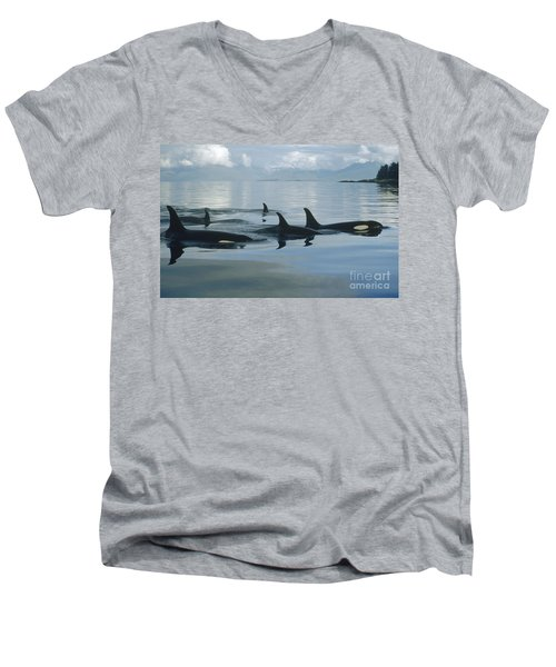 Orca Pod Johnstone Strait Canada Men's V-Neck T-Shirt