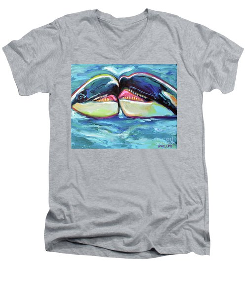 Men's V-Neck T-Shirt featuring the painting Orca Valentine by Robert Phelps