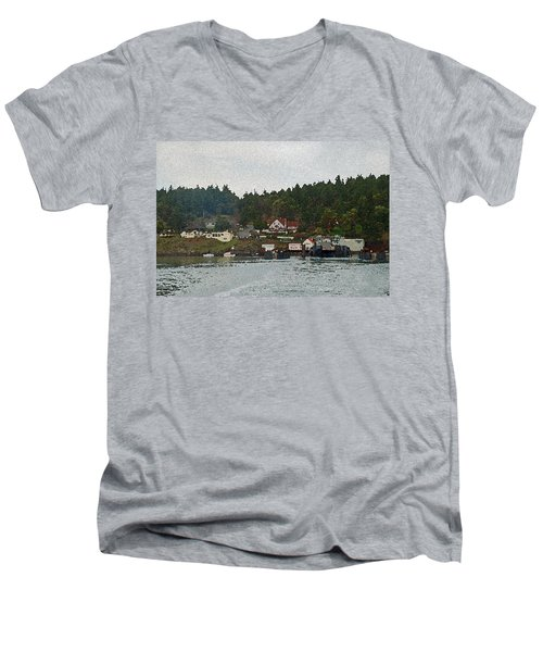 Orcas Island Dock Digital Men's V-Neck T-Shirt