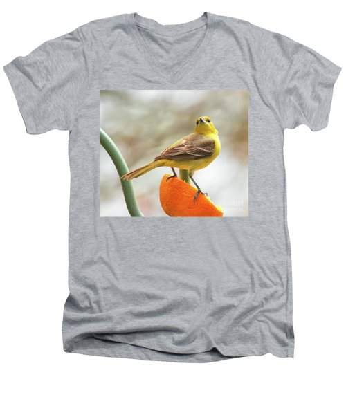 Men's V-Neck T-Shirt featuring the photograph Orchard Oriole by Debbie Stahre