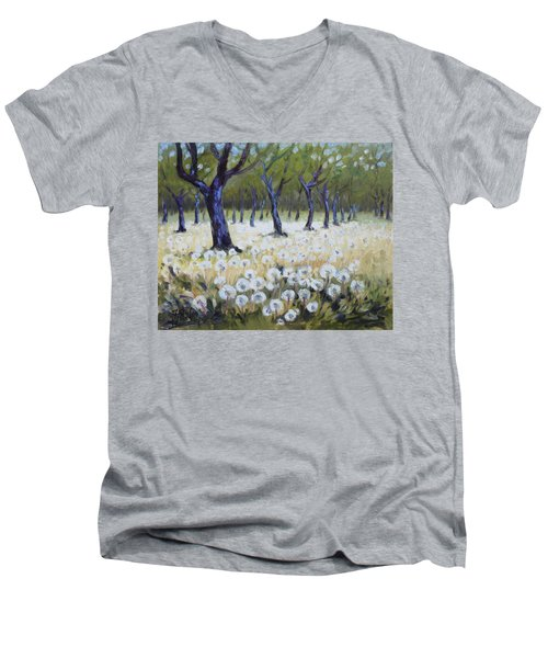Orchard With Dandelions Men's V-Neck T-Shirt