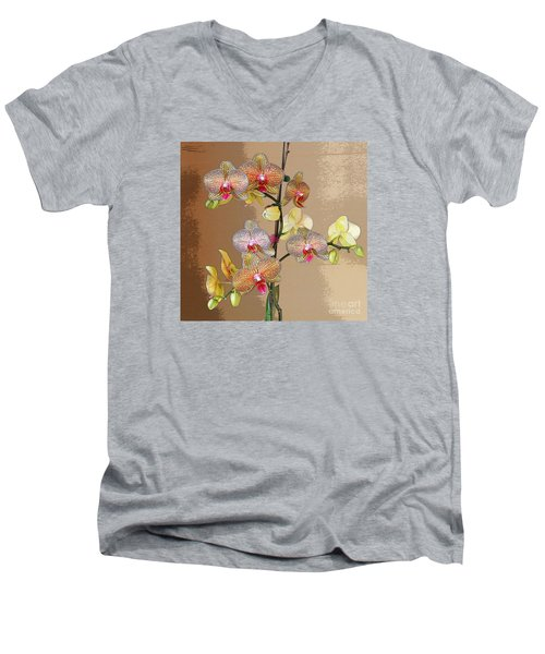 Orchid Love Men's V-Neck T-Shirt by Jeanette French