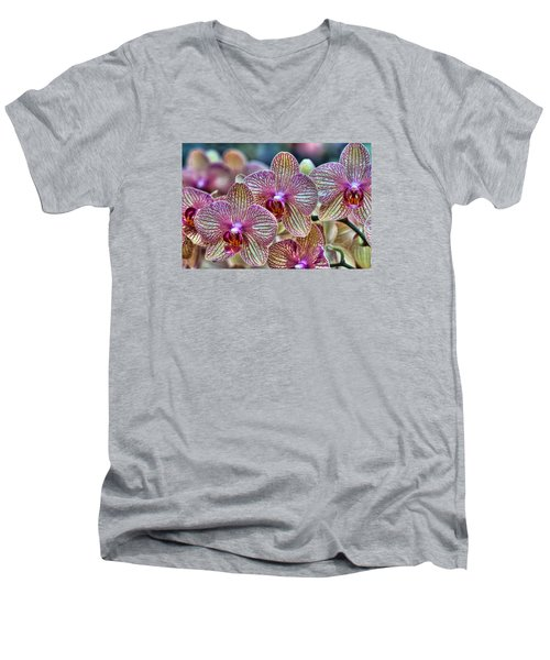 Orchid Melody Men's V-Neck T-Shirt by Nadia Sanowar