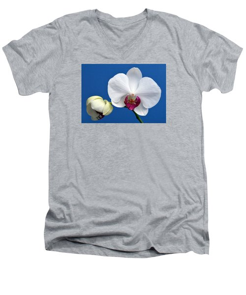 Orchid Out Of The Blue. Men's V-Neck T-Shirt by Terence Davis