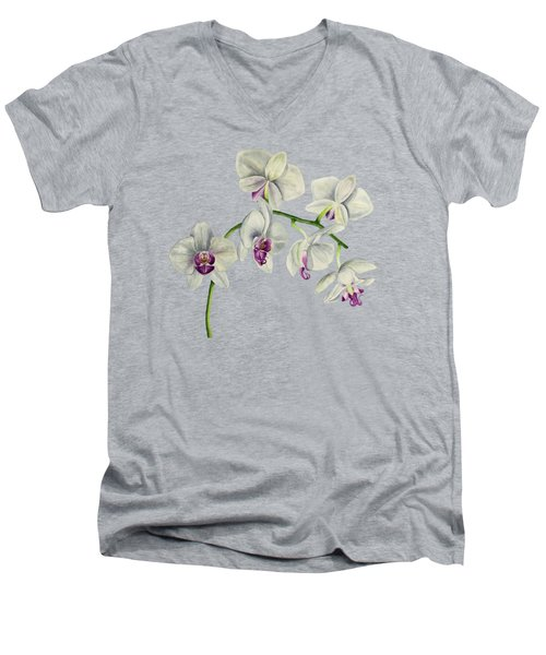 Orchid Watercolor Painting Men's V-Neck T-Shirt