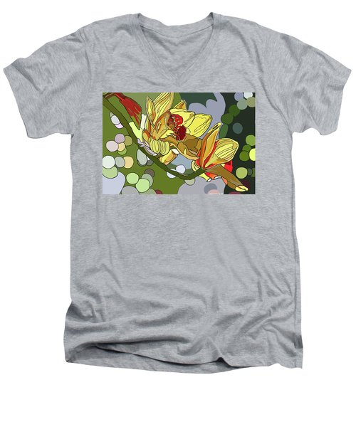 Orchids In Sunlight Men's V-Neck T-Shirt by Jamie Downs