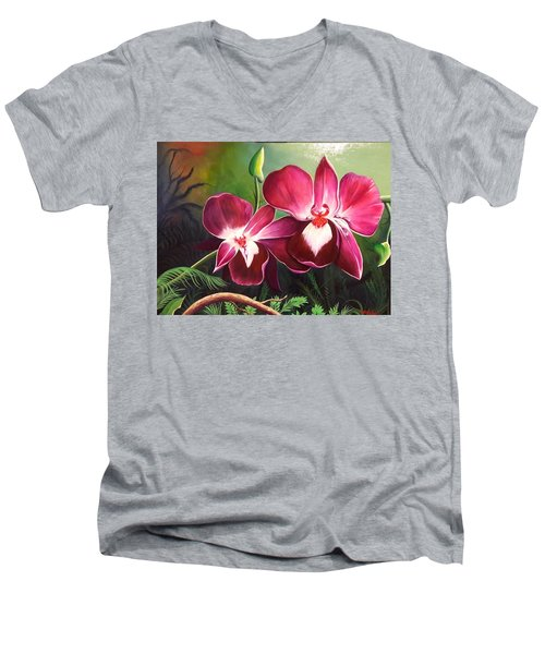 Orchids In The Night Men's V-Neck T-Shirt