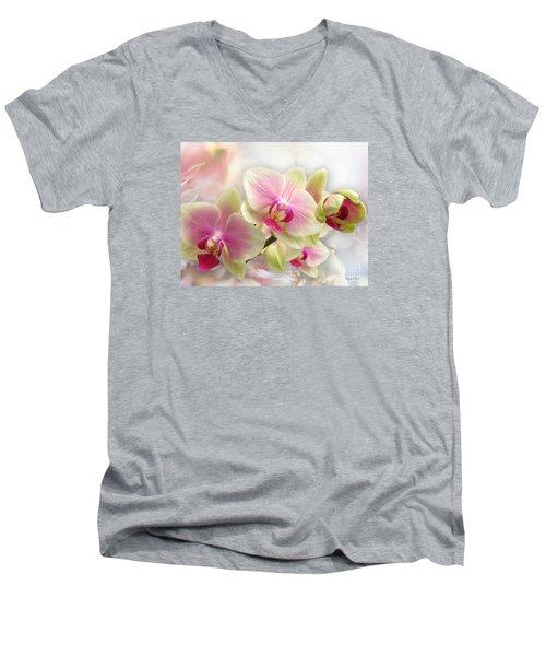 Orchids Men's V-Neck T-Shirt by Morag Bates