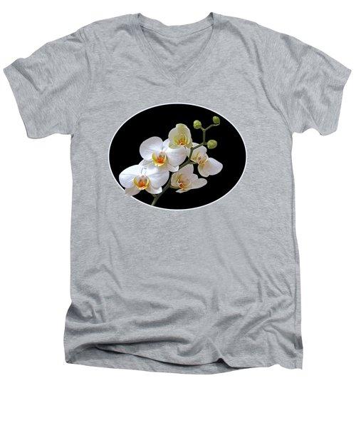Orchids On Black And Orange Men's V-Neck T-Shirt by Gill Billington