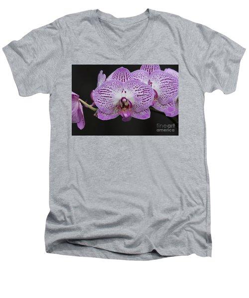 Orchids On Black Men's V-Neck T-Shirt