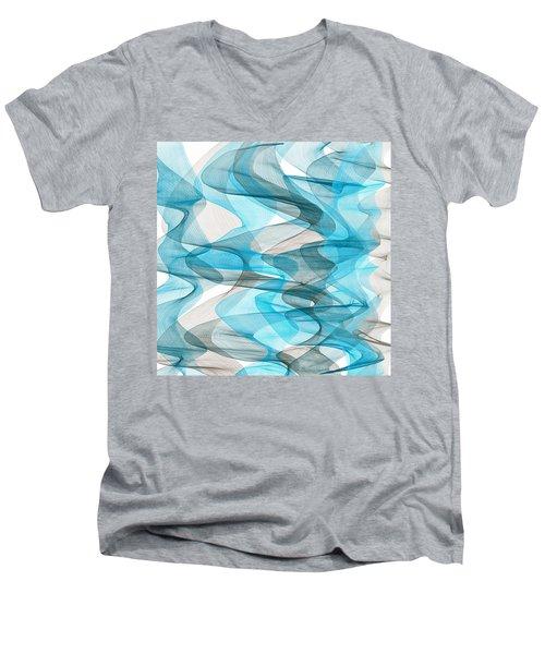 Orderly Blues And Grays Men's V-Neck T-Shirt