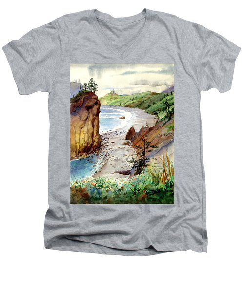 Men's V-Neck T-Shirt featuring the painting Oregon Coast #3 by John Norman Stewart