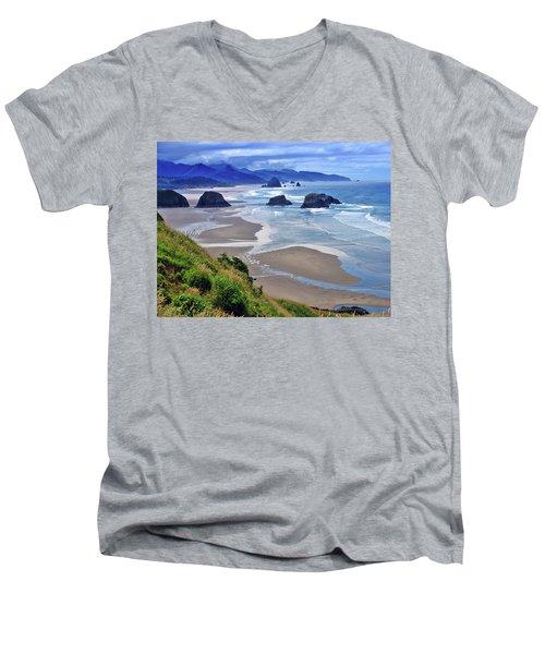 Oregon Coast Men's V-Neck T-Shirt by Scott Mahon