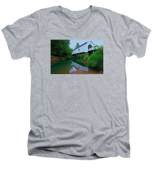 Oregon Covered Bridge Men's V-Neck T-Shirt by Sean Sarsfield