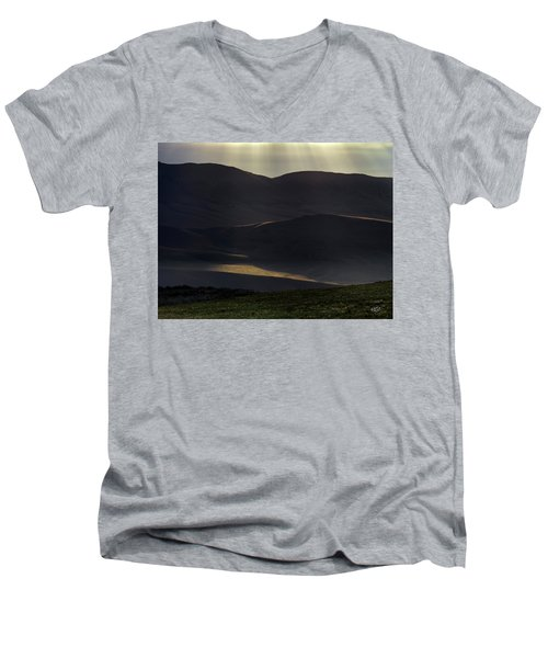 Men's V-Neck T-Shirt featuring the photograph Oregon Mountains 1 by Leland D Howard