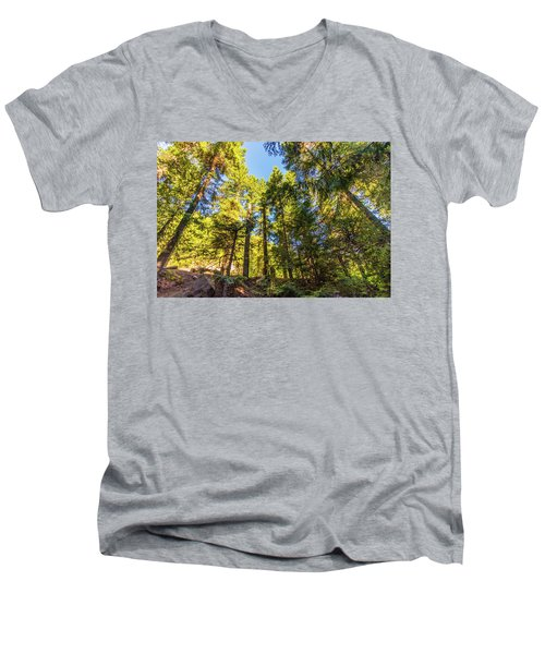 Men's V-Neck T-Shirt featuring the photograph Oregon Trees by Jonny D