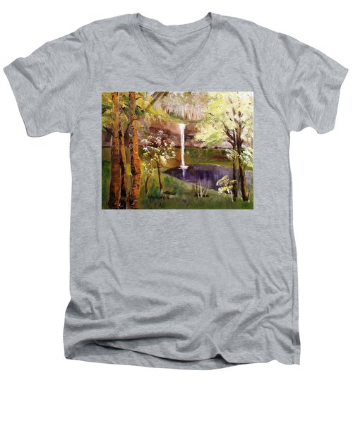 Oregon Waterfall Men's V-Neck T-Shirt by Larry Hamilton