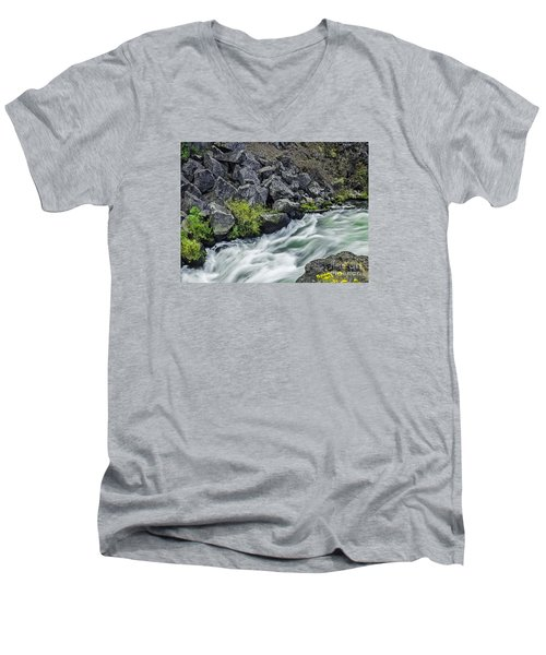 Men's V-Neck T-Shirt featuring the photograph Oregon's Dillon Falls by Nancy Marie Ricketts