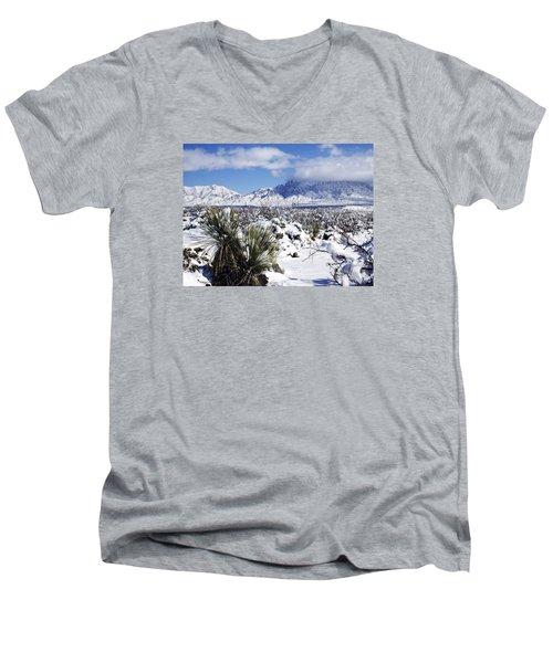 Men's V-Neck T-Shirt featuring the photograph Winter's Blanket Organ Mountains by Kurt Van Wagner