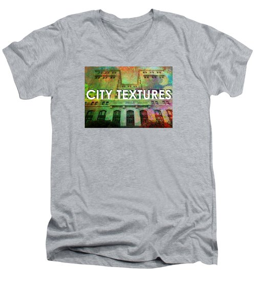 Men's V-Neck T-Shirt featuring the mixed media Organic City Textures by John Fish