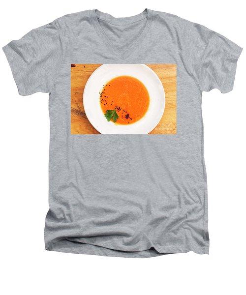 Organic Fresh Carrot And Pumpkin Soup With Sesame Seeds Men's V-Neck T-Shirt